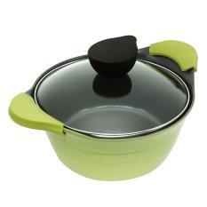 Neoflam Eela Panci Kaserol Berlapis Keramik dengan Tutup Kaca - 24 cm - Die Cast Aluminum - Hijau