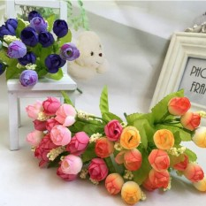 Rp 25.102. Baru 1 Buket 15 Kepala Buatan Mawar Plastik Palsu Bunga Daun  Rumah Dekorasi Pengantin ... 8c602bf1a5