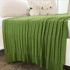New 2016 Solid Color Throw Blanket Cotton Knitted Thread Blankets Washable Manta Spring Autumn Sofa Blanket Cobertor ( Green ) 110x180cm - intl
