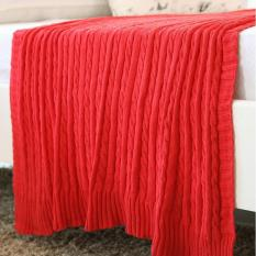 New 2016 Solid Color Throw Blanket Cotton Knitted Thread Blankets Washable Manta Spring Autumn Sofa Blanket Cobertor ( Red ) 110x180cm - intl