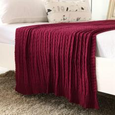 New 2016 Solid Color Throw Blanket Cotton Knitted Thread Blankets Washable Manta Spring Autumn Sofa Blanket Cobertor ( Wine Red ) 110x180cm - intl