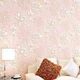 Jual Cepat New 3D 10M Modern Luxury Non Woven Design Wall Stickers Textured Embossed Flocking Wallpaper Roll Light Pink Intl