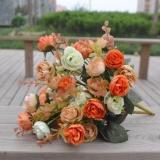 Diskon Baru 42 Kepala Plastik Buatan Rose Wedding Bouquet Dekorasi Rumah Silk Flower 2 Pcs Intl Branded
