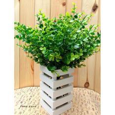 Baru 7-Cabang Buatan Palsu Plastik Sutra Eucalyptus Cafe Hotel Dekorasi-Intl