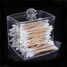 Baru Acrylic Cotton Swab Storage Holder Box Transparan Makeup Case Kosmetik Kontainer-Internasional