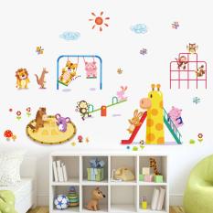 Baru Taman Hewan Stiker Dinding untuk Kamar Anak Singa Monyet Burung Hantu Hewan Park Dinding Stiker