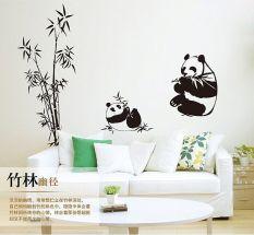 Baru Hitam Giant 100*90 Cm Panda Bambu Dinding Stiker Living Room TV Dinding Sofa Removable Home Sticker Dinding Sticker Art AY9051-Intl