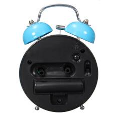 New Classic Double Diam Bel Alarm Samping Tempat Tidur Jam QUARTZ Night Light Blue