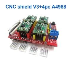 Baru CNC Shield V3 Engraving Machine/3D Printer/+ 4 Pcs A4988 Unit Ekspansi Pengemudi untuk Arduino- INTL