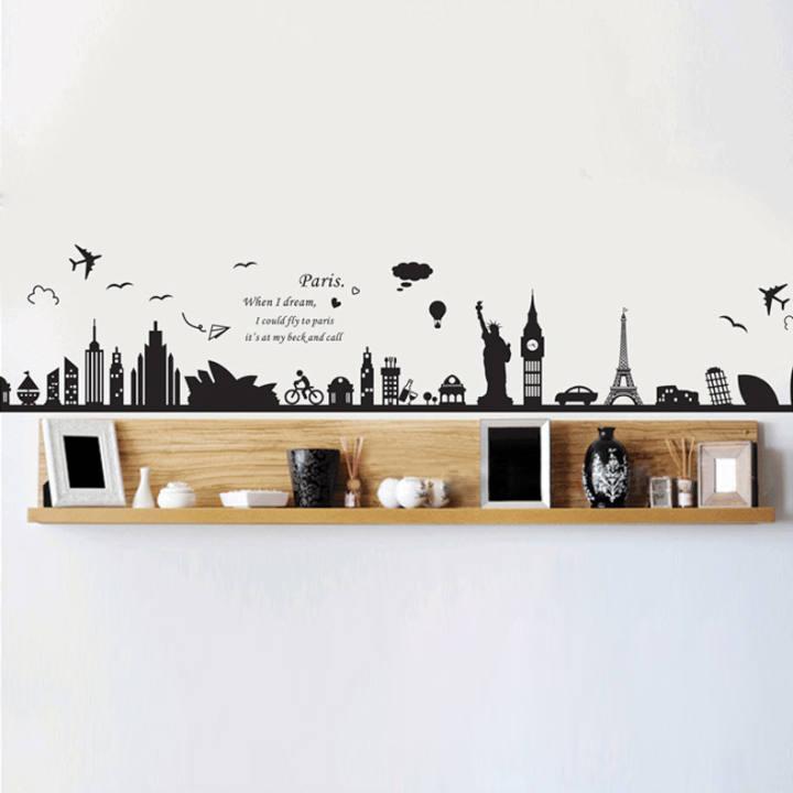 Baru Bangunan Eropa Yang Dapat Dilepas Stiker Dinding