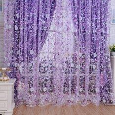 Beli Baru Floral Tulle Voile Door Window Curtain Drape Panel Sheer Scarf Valances Purple Intl Kredit Indonesia
