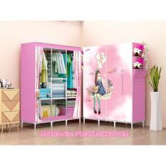 Diskon Allunique New Lemari Pakaian Portable 3 Layer Pink Love Allunique Di Banten
