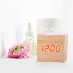 New Modern Wooden Wood Digital LED Desk Alarm Clock Thermometer Timer Calendar - intl