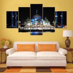 Masjid Baru Bangunan Lukisan Kanvas 5 Pieces Cetak Poster Gambar untuk Kamar Tidur Islam Seni Dekorasi Rumah Lukisan Dinding Tanpa Bingkai-Internasional