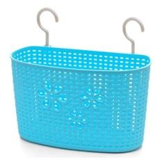 Baru Multifungsi Kamar Mandi Shower Dapur Sarung Tangan Plastik Rotan Keranjang Gantung Keranjang Penyimpanan Puing-puing Penyimpanan-Biru L-Intl