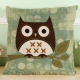 Ulasan Baru Owl Katun Linen Bantal Sofa Sarung Bantal Dekorasi Rumah D