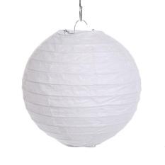 Baru Round Lampion Kertas Lampu Pesta Ulang Tahun Pernikahan Dekoratif Lentera Acara Besar (putih)-Intl