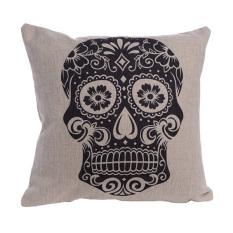 Baru Skull Square Skeleton Dekoratif Cetak Modern Rumah Kursi Kursi Sofa Pop Art Retro Pillowcase-PUTIH