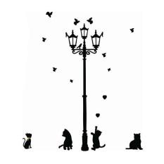 Newworldmall Perlengkapan Dekorasi Rumah Adhesive Home Decoration 3 Kucing Kecil Di Bawah Lampu Jalan DIY Animal Wall Sticker Wallpaper Mural Room Decal-Intl