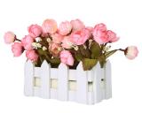 Niceeshop Bunga Bunga Dalam Pot Plastik Kecil Tanaman Camellia Umbi Palsu Berdiri Di Pagar Kayu Berwarna Merah Muda Terbaru