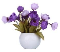 Diskon Produk Niceeshop Bunga Kamelia Of Truffle Sutra Buatan With Vas Bulat Ungu