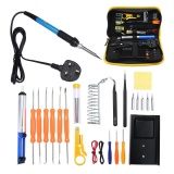 Spesifikasi Niceeshop Soldering Iron Kit Elektronik 25 Pieces Set 60 W Adjustable Suhu Alat Solder Besi Las Dengan 5 Pcs Tips Solder Wire Stand Dan Lainnya Kit Soldering Dalam Portable Toolbox Steker Inggris International Niceeshop