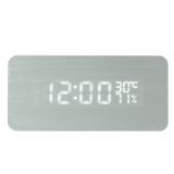 Review Niceeshop Persegi Kayu Butir Aktif Memimpin Suara Alarm Jam Digital With Tampilan Suhu And Kelembapan Putih Kayu