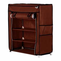 Beli Nine Box Rak Sepatu Dengan Cover 5 Tingkat 4 Ruang S4 Cokelat Pakai Kartu Kredit