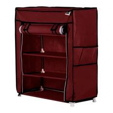 Jual Beli Nine Box Rak Sepatu Dengan Cover 5 Tingkat 4 Ruang S4 Maron