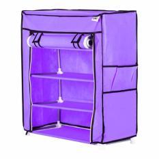 Beli Nine Box Rak Sepatu Dengan Cover 5 Tingkat 4 Ruang S4 Ungu Baru