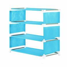 NINE BOX - Rak Sepatu Minimalis 4 susun/Rak sepatu portable/Rak serbaguna 4 susun - W4 SKY BLUE