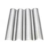 Beli Non Stick Bahasa Perancis Panci Roti Loaf Baking Pan Dengan Empat Slot Wave Baguette Cetakan Silver Tiongkok