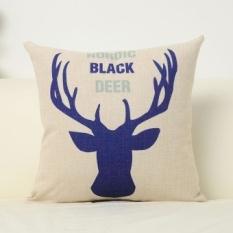 Nordic IKEA linen letter elk pillow sofa pillow containing core Linen bed cushion cover car waist Cushion