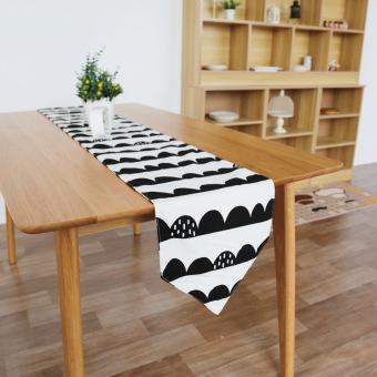Nordik Sederhana Hitam Atau Putih Setengah Selang Katun Taplak Meja