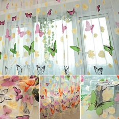 Spesifikasi Not Washable Floral Butterfly Sheer Curtains Sheers Voile Tulle Window Curtain Intl Murah