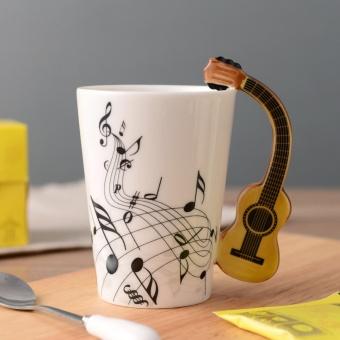 Novelty Guitar Keramik Cup Kepribadian Musik Catatan Susu Jus Lemon Teh Mug Teh Rumah Kantor Minuman