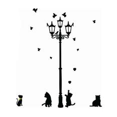 OEM 3 Little Cat Di Bawah Lampu Jalan DIY Stiker Dinding Mural Decals Living Dekorasi Rumah-Internasional