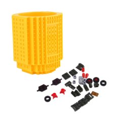 OH Unik DIY Blok Bangunan Mug Cup Bangun-On Brick Membangun Pen Wadah Baru Kuning