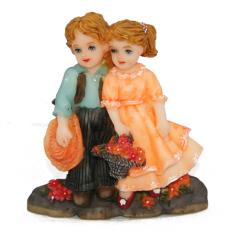 OHOME Pajangan 3D Vintage Keramik Poly Stone Boy Girl Patung Hadiah Kado Decor - EV-