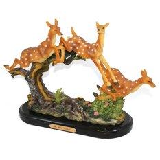 OHOME Pajangan 3D Vintage Keramik Poly Stone Deers Jumping Patung Hadiah Kado Decor - EV-SP-3910