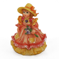 OHOME Pajangan 3D Vintage Keramik Poly Stone Girl Dress in Yellow Hadiah Kado Decor - EV-SP-3914-C