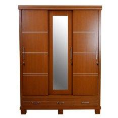 OLC Lemari Pakaian Hampton 3 Sliding Door - Cokelat - Khusus Jabodetabek