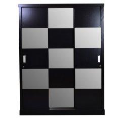 OLC Lemari Pakaian Havana Chess 3 Sliding Door - Hitam - Khusus Jabodetabek