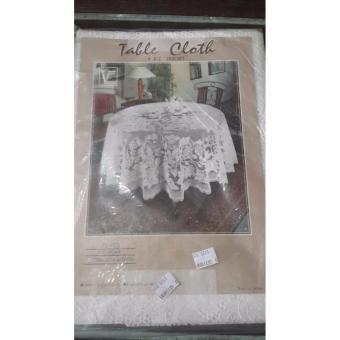 Oleno Kitchen- Crochet Vinyl Tablecloth- Taplak Meja Bulat Dekorasi Meja- Putih