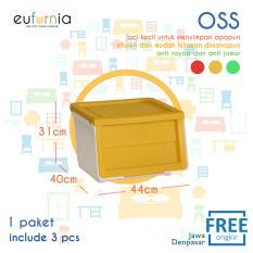 Rak Susun / Tempat Penyimpanan OSS Eufurnia Olymplast Storage Solution  / Kuning / 3 Pcs / 100% FREE ONGKIR JAWA DENPASAR