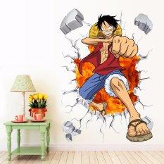One Piece Anime Luffy Mural Dinding Stiker Dapat Dilepas Dekorasi Kamar Anak-Intl
