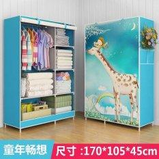 One Piece Tirai Gulung Pakaian Desain Wardrobe Home Furniture (gaya: Beruang, Warna: Biru) -Intl