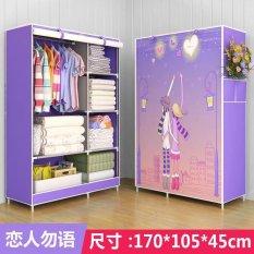 One Piece Tirai Gulung Pakaian Desain Wardrobe Home Furniture (gaya: Kekasih, Warna: Ungu) -Intl