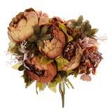 Spesifikasi Ooplm 1 Bouquet Buatan Peony Sutra Bunga Home Dekorasi Pernikahan Cokelat Kehitaman