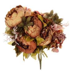 Toko Ooplm 1 Bouquet Buatan Peony Sutra Bunga Home Dekorasi Pernikahan Cokelat Kehitaman Tiongkok